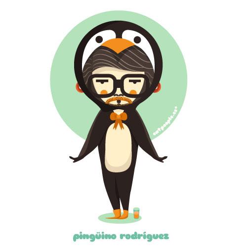 Tarjeta de cumpleaños Pingüino Rodríguez delante