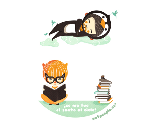 Yo leyendo mientras pingüino se duerme: se me fue el santo al cielo