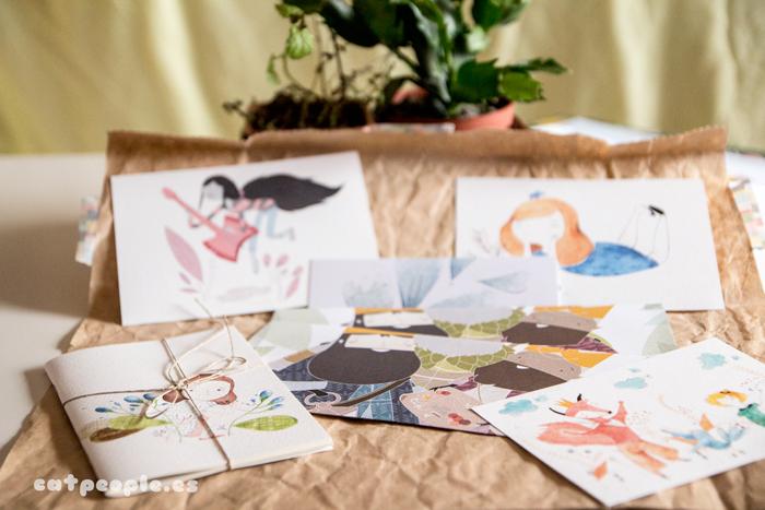 Postales, libreta, cuaderno y marcapáginas de Eva Carot