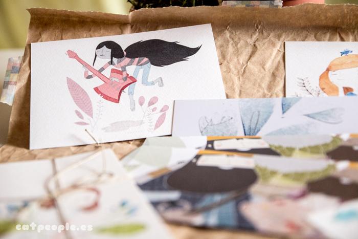 Postales, libreta, cuaderno y marcapáginas de Eva Carot - detalle Rock