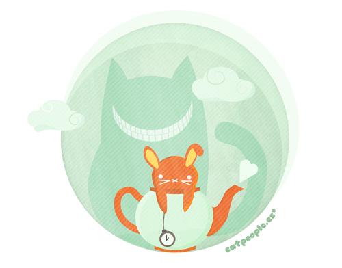el Gato de Cheshire y el Conejo Blanco en la hora del té por Cat People