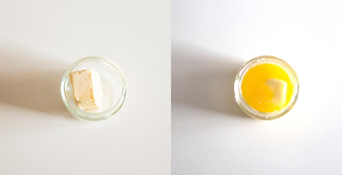 Tarta de manzana, canela y copos de avena - Mantequilla antes y después