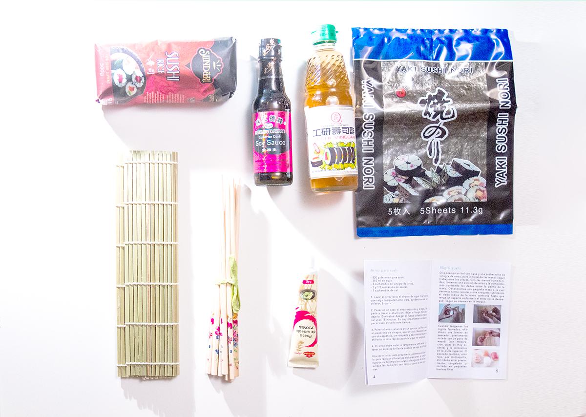 Ingredientes para preparar sushi - La caja mañosa